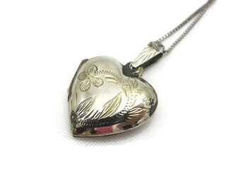 Sterling Heart Locket - Etched Silver Puffy Heart, Box Chain, Sterling Silver Sweetheart Jewelry