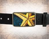 Belt Buckle, Leather Insert Belt Buckle, Buckle - Starfish