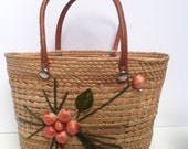 Vintage Straw Beach Tote with Peachie Flower Trim
