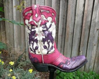 Yard Art Lady cowboy boot
