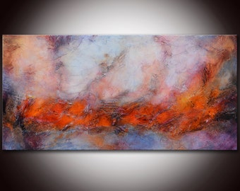 Red Gray Painting, Red Abstract Painting, modern wall art, Red Colorful Painting, purple Painting,pink painting, abstract landscape