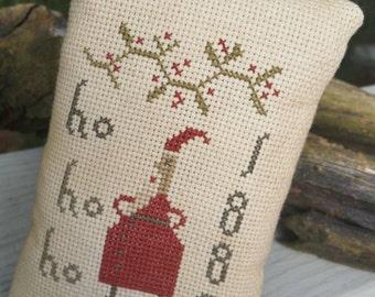 Ho Ho Ho Primitive Santa Cross Stitch  Cupboard Tuck Mini Pillow