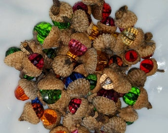 Set of 60 Beaded Black Oak Acorns Multi Color Home & Living Home Decor Fall
