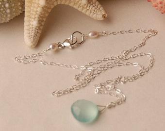 Blue Chalcedony Necklace, Aqua Blue Gemstone in Sterling Silver, Bridesmaid Necklace, Beach Wedding, Single Gemstone Necklace, Semi Precious