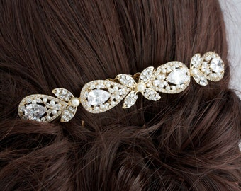 Wedding Hair Accessory Gold  Bridal Hair Comb Vintage Hair Piece Crystal Veil Clip Rhinestone Gold Veil comb VIVIENNE