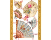 Made In England Paper Lithograph Die Cut Scraps Victorian Fans  A-71