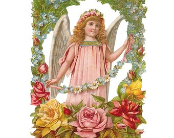 Rose Angel Scrap Made In Germany Large Lithograph Die Cut Christmas Or Easter  5109