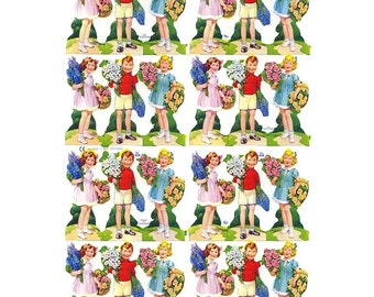 Vintage England Die Cut Paper Scraps Children With Bouquets Out Of Print  838