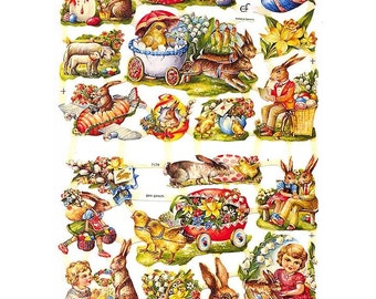 Germany Paper Scraps Lithographed Die Cut Easter Bunny Egg Lambs  7174