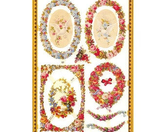 England Paper Lithograph Die Cut Scraps Borders And Frames  A-158