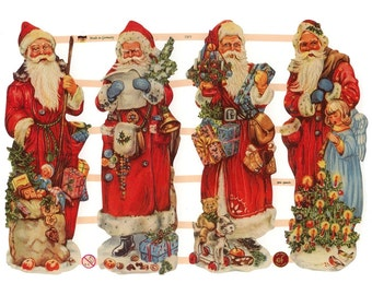 Germany Paper Scraps Lithographed Die Cut Victorian Santa Claus Christmas  7377