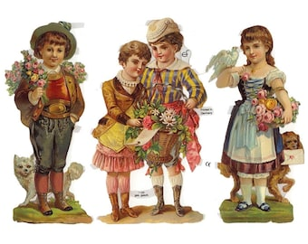 Germany Paper Scraps Lithographed Die Cut Victorian Children  7188