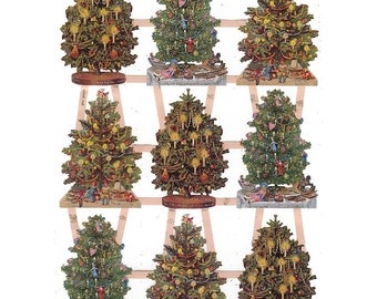 Glittered Christmas Scraps Made In Germany Die Cut Victorian Christmas Trees  G7396G