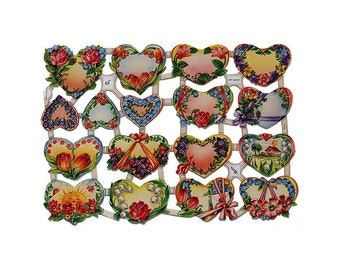 Germany Paper Scraps Lithographed Die Cut Flower Hearts Roses  7173