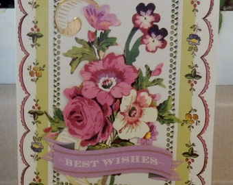 Handmade BEST WISHES CARD Made with Anna Griffin Design and Supplies  Vintage Look Flowers Embellished Dimentional Ribbon