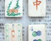 4 Vintage bone Chinese Mah Jong Game pieces for your art projects lot 2