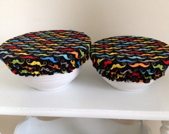 Fabric Food Bowl Reusable Lid Cover Bright Environmental Colorful Mustache (2 Pieces)