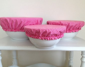 Eco-Friendly Elastic Reusable Fabric Picnic Food Bowl Covers Lids Pink White Gingham Checker (Set of 3)