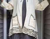 Antique White Long Swing Jacket M
