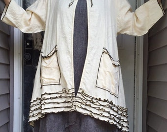 Antique White Long Swing Jacket S