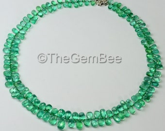 163.95CT Colombian Emerald Pear Briolette Bead 14K Gold Diamond Necklace 17 Inch