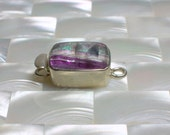Clasp Sterling Silver Rectangular Shape Box Clasp with Amethyst Gemstone Single Strand Jewelry Ending Jewellery Craft Supplies