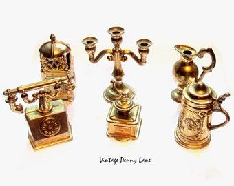 Vintage Brass Metal Figurines / Miniatures, Mini Lot