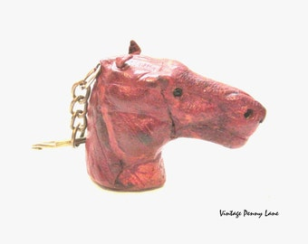 Vintage Horse Head Keychain / Key Ring / Tooled Leather