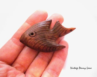 Tropical Fish Brooch, Carved Wood  Pin