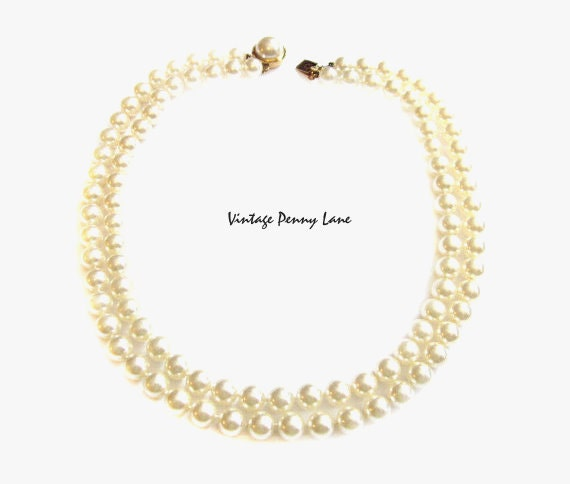 Mallorca Pearl Necklace: Vintage MALLORCA Spain Pearl Necklace 2 Strand Glass Beads