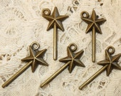 5 Antiqued Bronze Brass Magic Wand Charms, Cinderella, Fairy Godmother