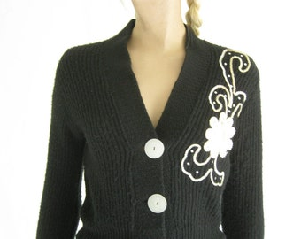 Vintage 50's Black Beaded Cropped Cardigan Sweater