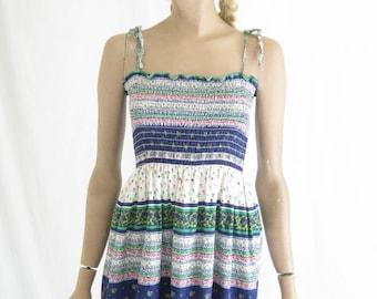 Vintage 70's Cotton Sun Dress. Size  Small