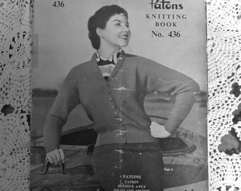Vintage 1950's Knitting Pattern  Patons No. 436 ACTUAL PATTERN BOOKLET