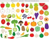 Vegetable clipart - fruit clip art apple clipart slices broccoli cucumber potato cherry radish strawberry grape onions orange commercial