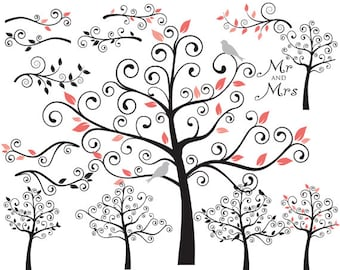 Tree clip art - swirly tree flourish swirls branches whimsical cute birds leaves summer fall winter birdies coral black silhouette