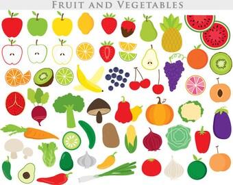 Vegetable clipart - fruit clip art apple clipart slices broccoli cucumber potato cherry radish strawberry grape onions orange commercial