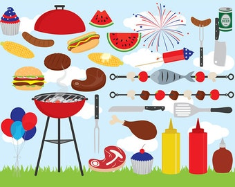 Barbeque clipart - barbecue BBQ clip art family grill grilling USA fourth July summer party US Independence Day personal and commercial use