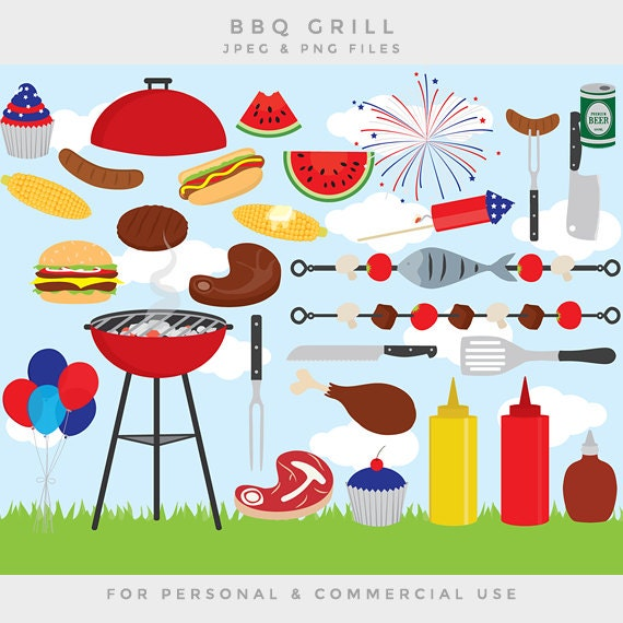 clipart - barbecue BBQ clip art family grill grilling USA fourth July ...