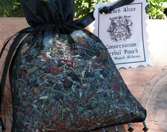 Sacred Altar Consecration Herbal Pouch .  For Consecrating and Enhancing Magickal Energy to your Magickal Tools, Crystals, Jewelry and More