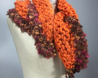 Mindful Wrap, Wearable Fiber Art-Tibetan Dzi Beads on a Mindfulness Mantle in Orange, Mauve, Brown Alpaca, Wool, and Mohair