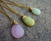 Your Choice Wire Wrapped Gemstone Flat Smooth Teardrop Necklace in Gold