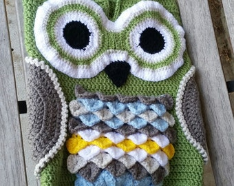 Owl Cocoon Baby Set, Blanket and Hat, made to order