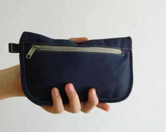 SALE SALE SALE  20% Sale -  // D- Pouch in Navy blue // Wallet / clutch / cosmetic bag / iphone case /  travel / Women /  Pouch