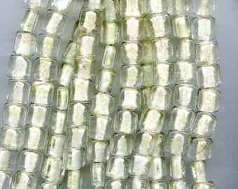 GLOW in the Dark White Square Glass beads 14mm 15 to a strand