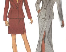1990s Suit Pattern Long Short Skirt Fitted Jacket New Look Uncut Sewing Women's Misses Size 6 -16 Bust 30.5 -38 Inches