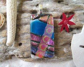 """CHUNKY Glass Pendant with FREE matching cord  """"Pink & Blue""""  031"""