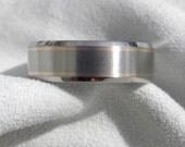 Wedding Band, Titanium Rose Gold Ring, Beveled Cut Edges