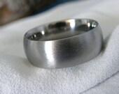 Titanium Ring, Wide Dome Profile Wedding Band, Stone Finish
