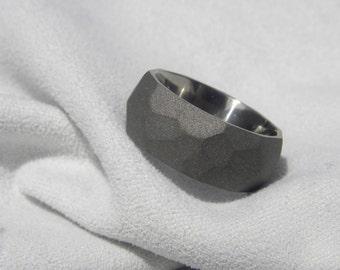 Titanium Ring, Wedding Band, 8mm, Ground Profile, Size 5.75, Sandblasted, Clearance Listing